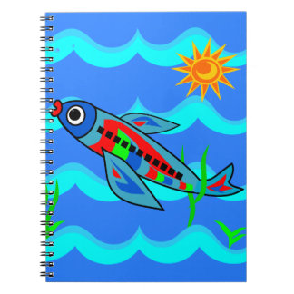 Whimsical Colorful Fish Airplane Spiral Notebook
