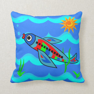 Whimsical Colorful Fish Airplane Throw Pillow