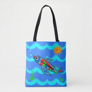 Whimsical Colorful Fish Airplane Tote Bag