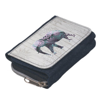Whimsical Colorful Floral Elephant on Wood Design Wallets