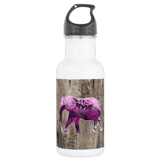 Whimsical Colorful Floral Elephant on Wood Design Water Bottle
