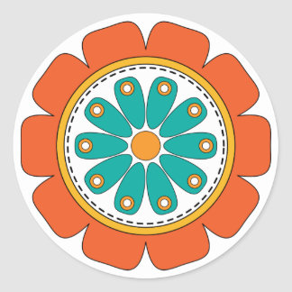 Whimsical colorful flower sticker