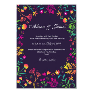 Whimsical colorful  flowers wedding invitation