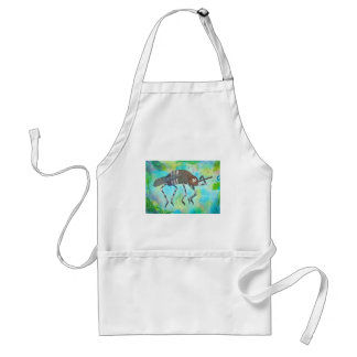 Whimsical Colorful Mosquito Flexing Muscles Funny Adult Apron
