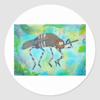 Whimsical Colorful Mosquito Flexing Muscles Funny Classic Round Sticker