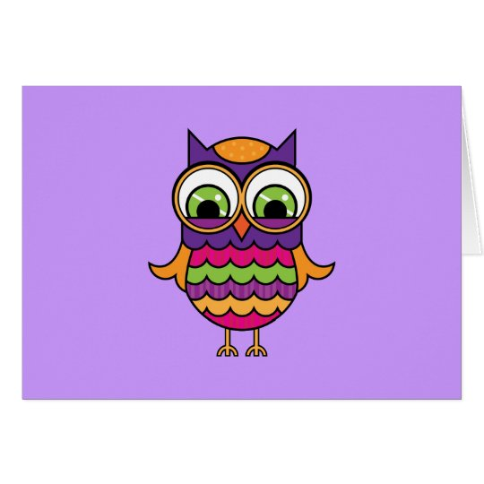 Whimsical Colorful Owl Card