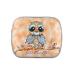 Whimsical Colorful Owl Customizable Candy Tin
