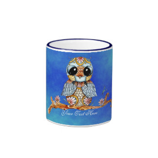 Whimsical Colorful Owl Customizable Coffee Mug