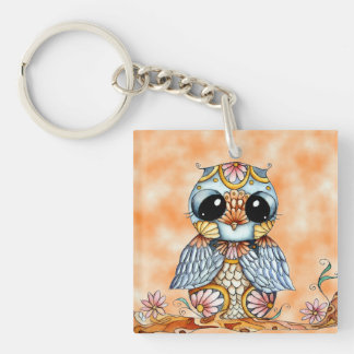Whimsical Colorful Owl Double Sided Key Chain