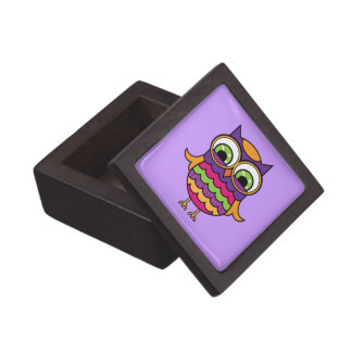 Whimsical Colorful Owl Jewelry Box