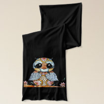 Whimsical Colorful Owl Scarf