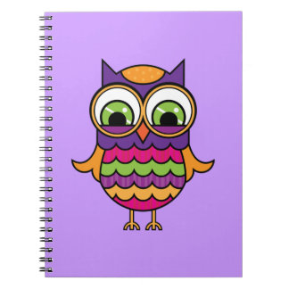 Whimsical Colorful Owl Spiral Notebook