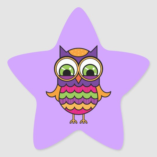 Whimsical Colorful Owl Star Sticker