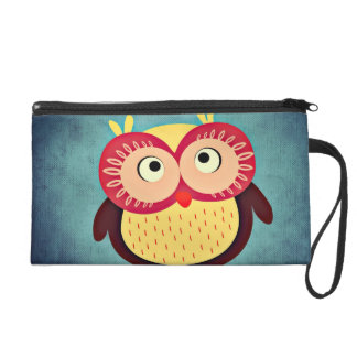 Whimsical Colorful Owl Wristlet Purse