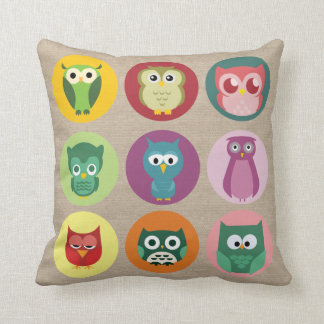 Whimsical Colorful Owls Faux Burlap Throw Pillow