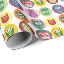 Whimsical Colorful Owls Pattern Wrapping Paper
