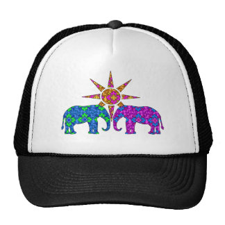 Whimsical Colorful Paisley Elephants In The Sun Hat