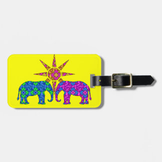 Whimsical Colorful Paisley Elephants In The Sun Tag For Luggage