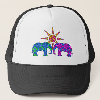 Whimsical Colorful Paisley Elephants In The Sun Trucker Hat