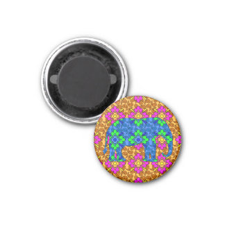Whimsical Colorful Paisley Print Circus Elephant Fridge Magnet