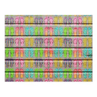 Whimsical Colorful Sandals Vintage Wood Texture Postcard