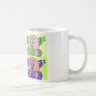 WHIMSICAL,COLORFUL SPACE BOT. COFFEE MUG