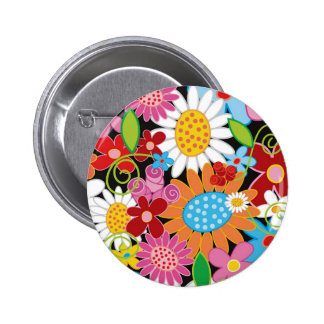 Whimsical Colorful Spring Flowers Garden Button