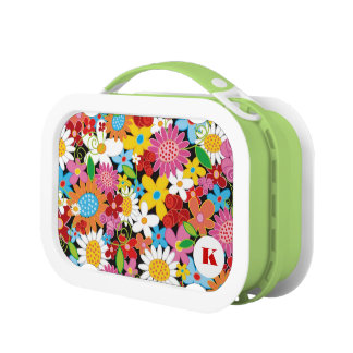 Whimsical Colorful Spring Flowers Garden Lunchbox