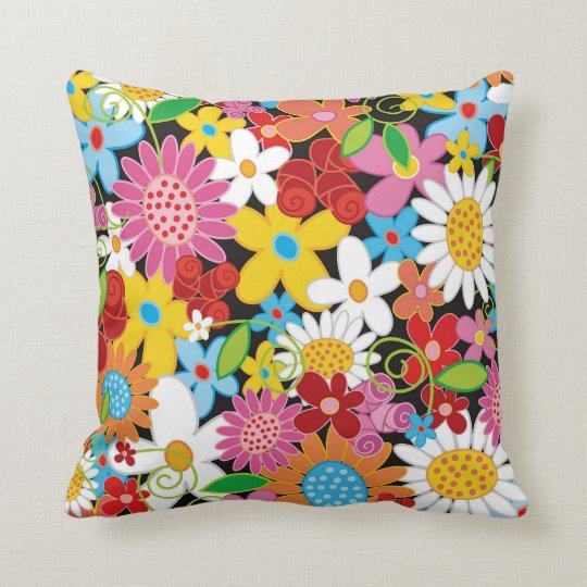 Whimsical Colorful Spring Flowers Garden MoJo Pill Throw Pillow