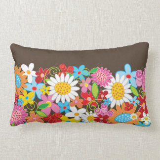 Whimsical Colorful Spring Flowers Garden Pillow