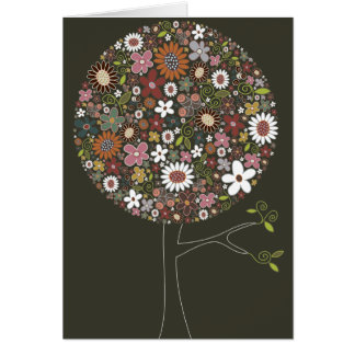 Whimsical Colorful Spring Flowers Pop Tree Nature Card