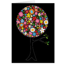 Whimsical Colorful Spring Flowers Pop Tree Nature Greeting Card
