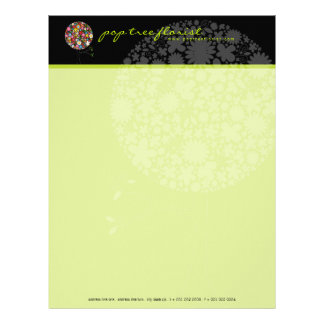 Whimsical Colorful Spring Flowers Pop Tree Nature Letterhead