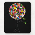 Whimsical Colorful Spring Flowers Pop Tree Nature Mouse Pad