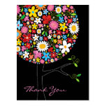 Whimsical Colorful Spring Flowers Pop Tree Nature Postcard
