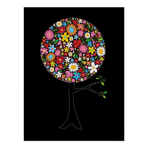 Whimsical Colorful Spring Flowers Pop Tree Nature Poster