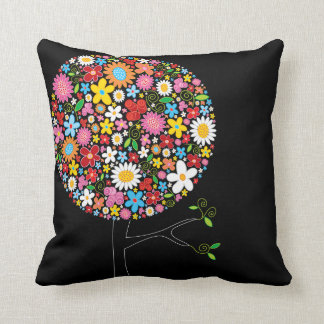 Whimsical Colorful Spring Flowers Pop Tree Nature Throw Pillow