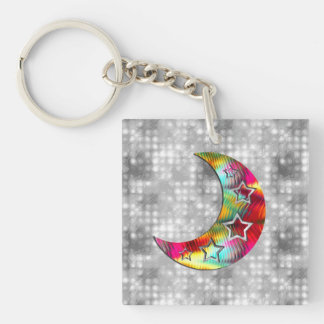 Whimsical Colorful Stars and Moon Keychain