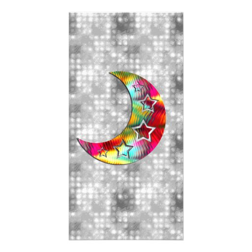 Whimsical Colorful Stars and Moon Customized Photo Card