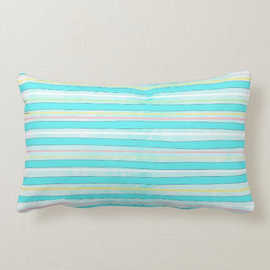 Whimsical Colorful Stripes Modern Winter Holiday Lumbar Pillow