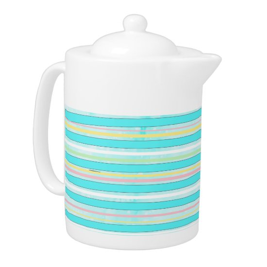 Whimsical Colorful Stripes Modern Winter Holiday Teapot