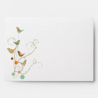 Whimsical Colorful Summer Birds Custom Envelope