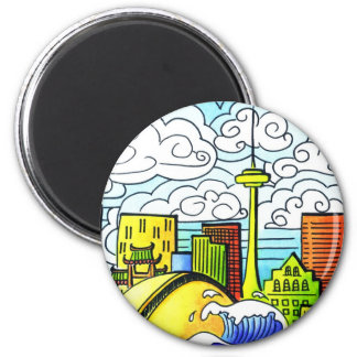 Whimsical, Colourful, Beautiful Toronto Skyline 2 Inch Round Magnet