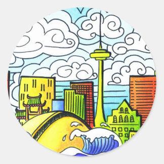 Whimsical, Colourful, Beautiful Toronto Skyline Classic Round Sticker