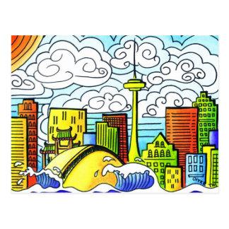 Whimsical, Colourful, Beautiful Toronto Skyline Post Cards