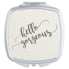 Whimsical Confetti Dots Hello Gorgeous Makeup Mirror at Zazzle