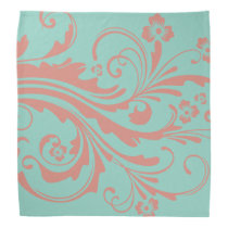 Whimsical Coral and Mint Chic floral Bandana