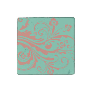 Whimsical Coral and Mint Chic floral Stone Magnet