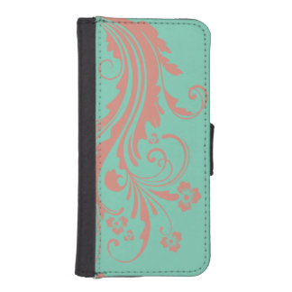 Whimsical Coral and Mint Chic floral iPhone SE/5/5s Wallet Case