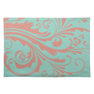 Whimsical Coral and Mint Chic floral Placemat